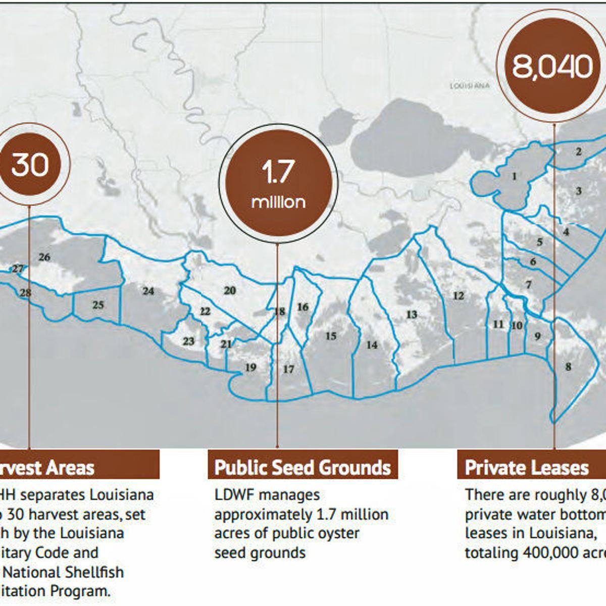 Louisiana oyster lease rates, diversions, lifting moratorium