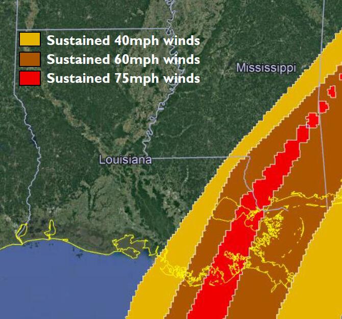Hurricane Zeta's winds