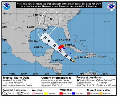 Tropical Storm Delta 10am Monday track