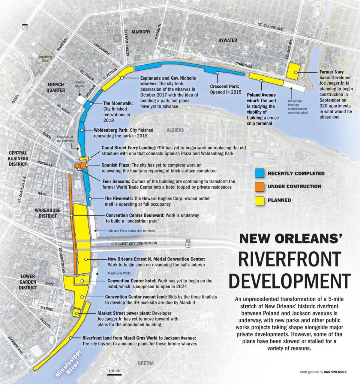 New Orleans riverfront development map