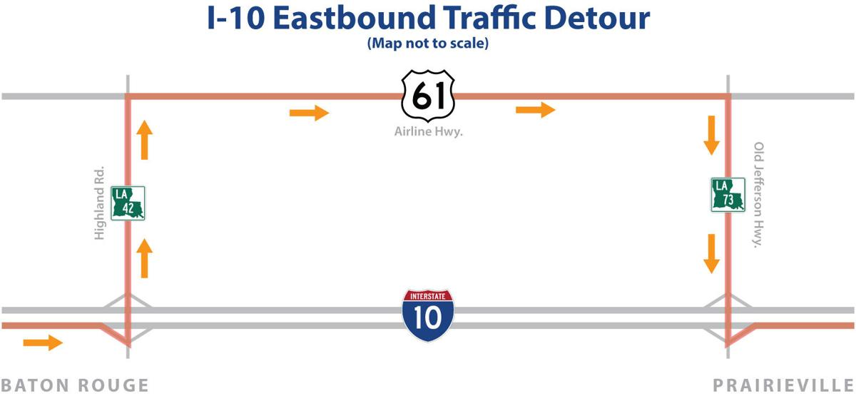 Eastbound I-10 in Baton Rouge area closing Friday night for ... on highway 82 map, i-10 map, interstate 70 map, i-70 colorado road map, interstate 81 map, interstate 5 map, lincoln way map, interstate 421 map, interstate 27 map, interstate 8 map, interstate 80 map, interstate 20 map, interstate 4 map, interstate 422 map, interstate 75 map, interstate 25 map, interstate i-10, texas map,
