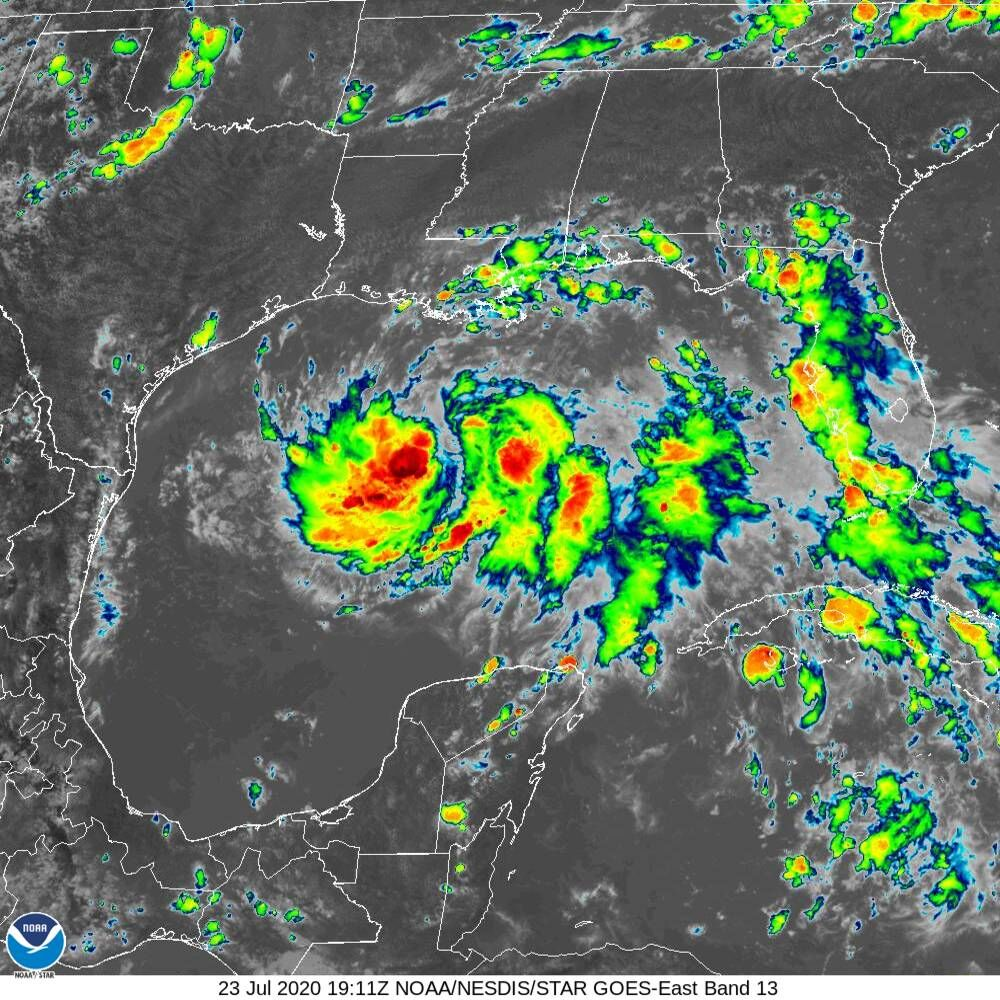 Tropical depression in Gulf of Mexico 1 pm satellite
