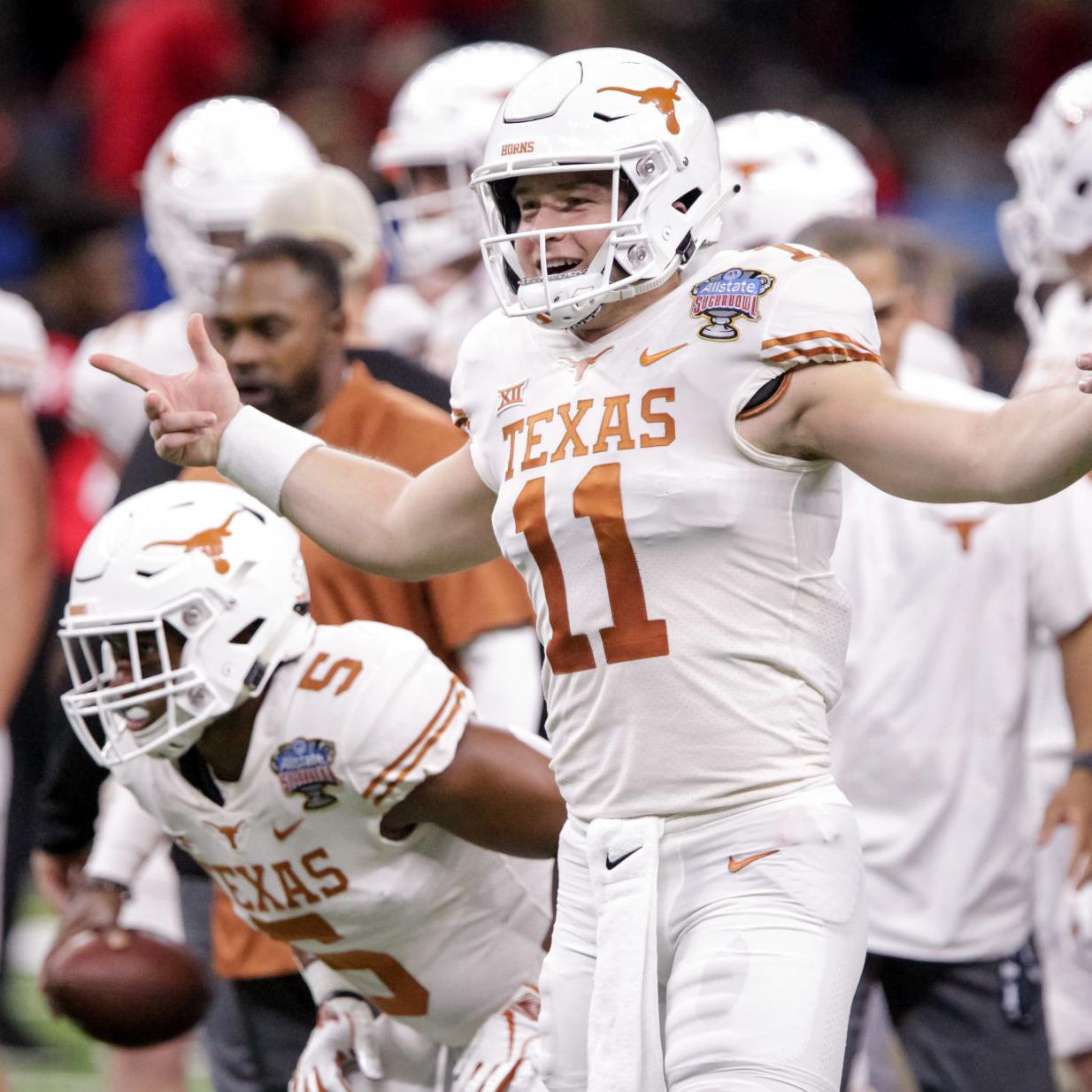 size 40 5d56e bb929 Sam Ehlinger pays tribute to Drew Brees, leads Texas past ...
