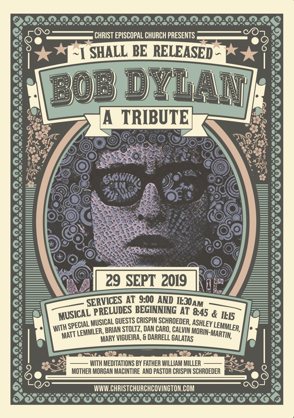 Bob Dylan tribute service poster