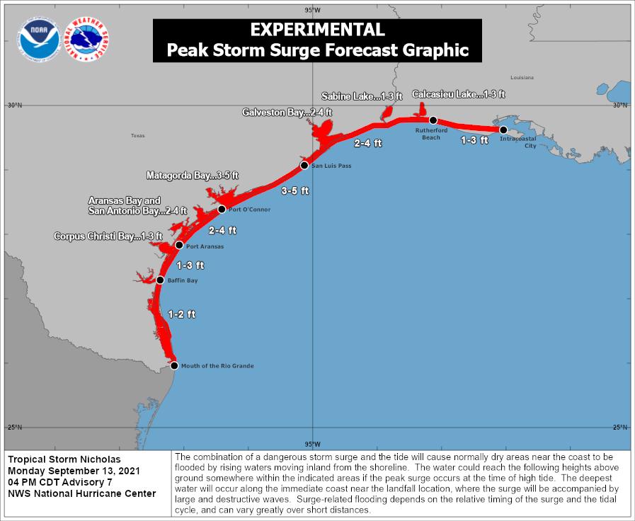 Potential storm surge levels