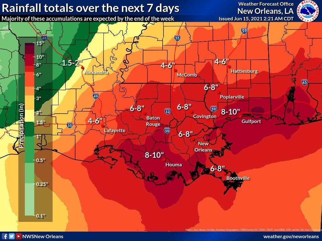 Rainfall estimates 5am June 15