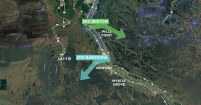 Proposed locations of Mid-Barataria and Mid-Breton Sediment Diversions
