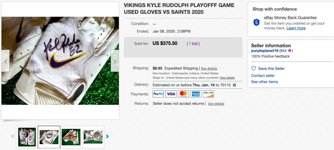 eBay screenshot of Kyle Rudolph's glove listing