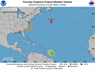 Tropical weather update on Monday morning