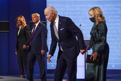 Joe Biden and Jill Biden at debate with Donald and Melania Trump