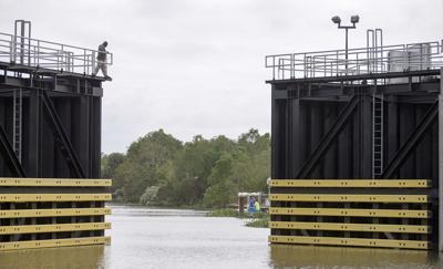 Caernarvon flood gate closes ahead of Tropical Storm Nate