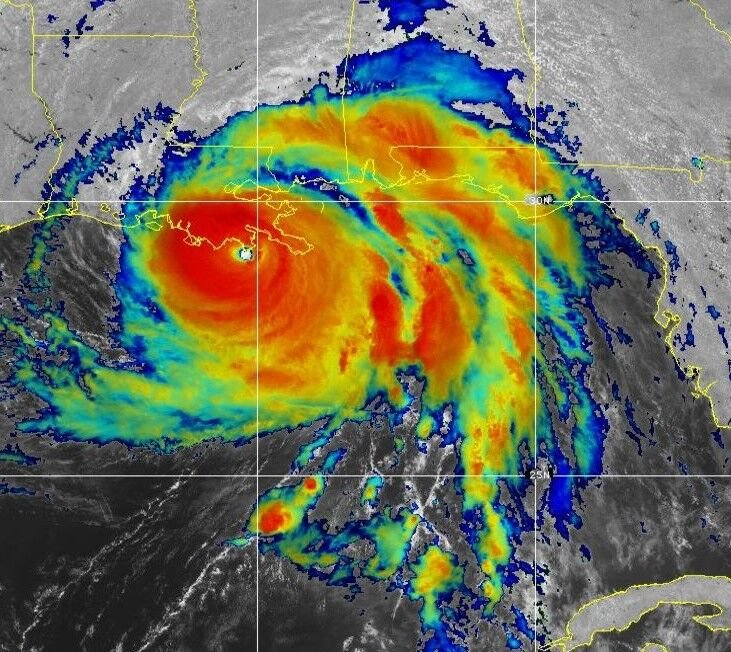 Hurricane Ida at landfall