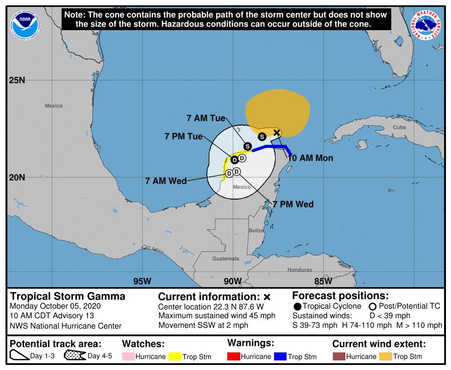 Tropical Storm Gamma 10am Monday track