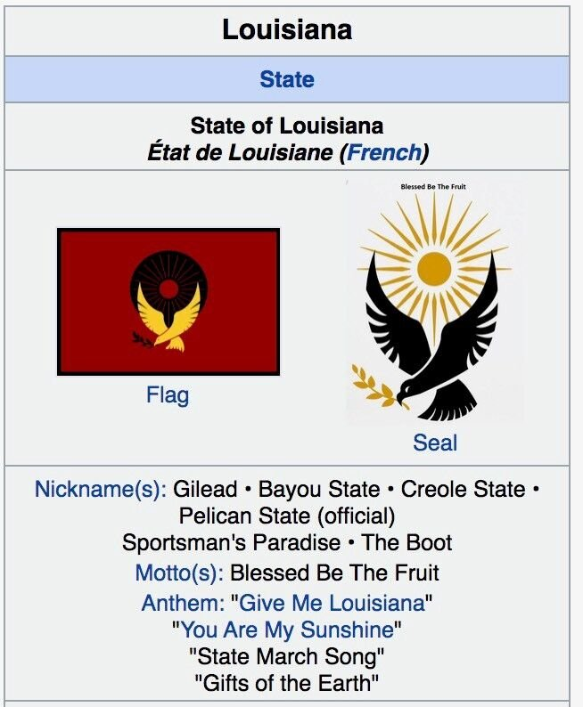 Screenshot of Louisiana Wikipedia page Handmaid's Tale