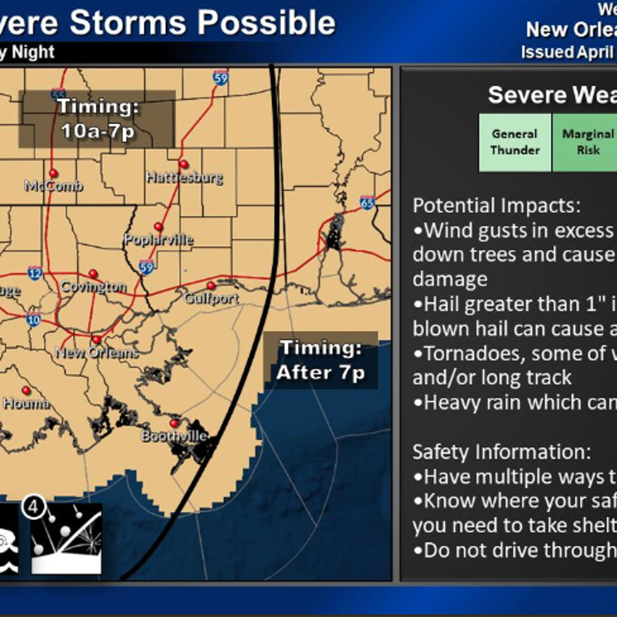 New Orleans area faces worst weather risk Thursday afternoon