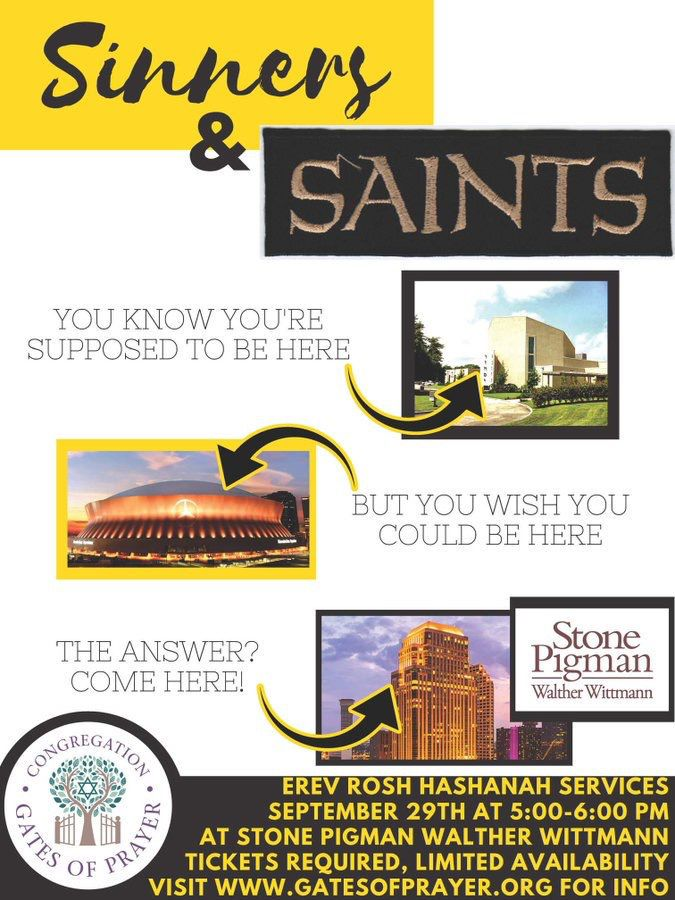 Sinners and Saints synagogue poster.