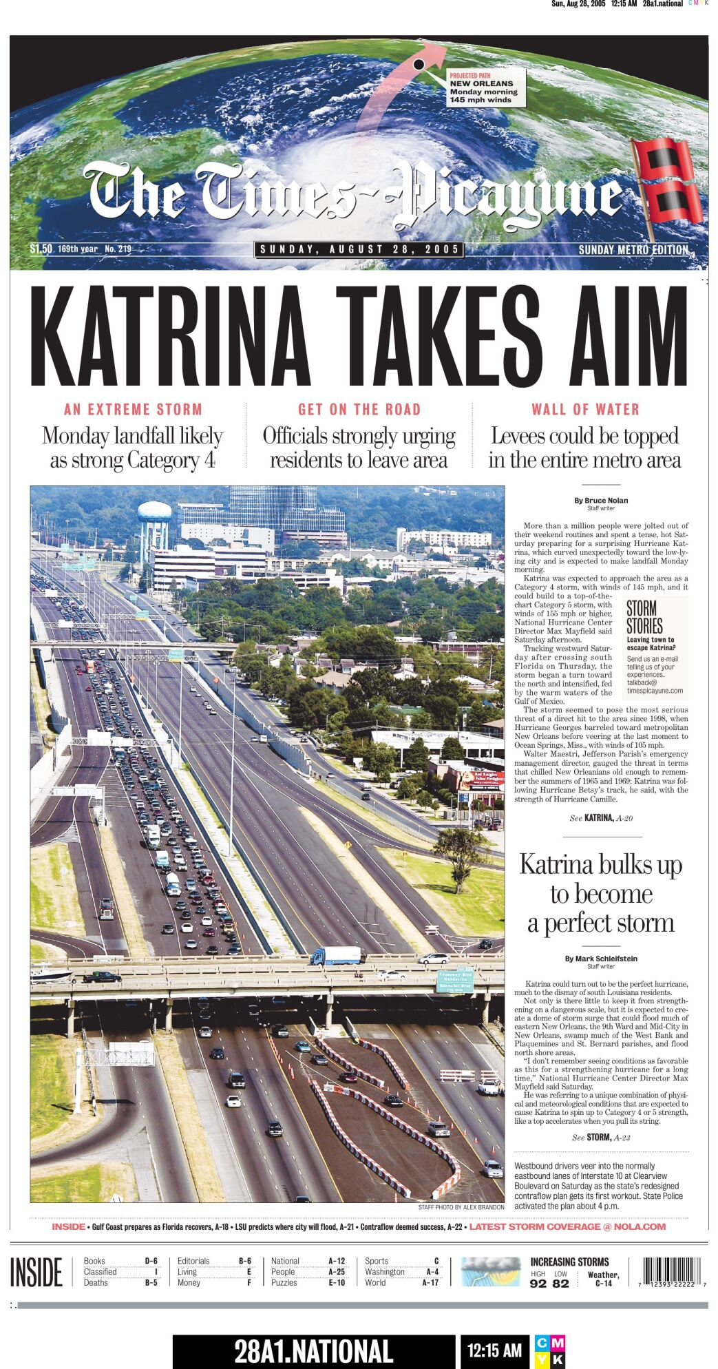 2005 Times-Picayune front page: Katrina takes aim