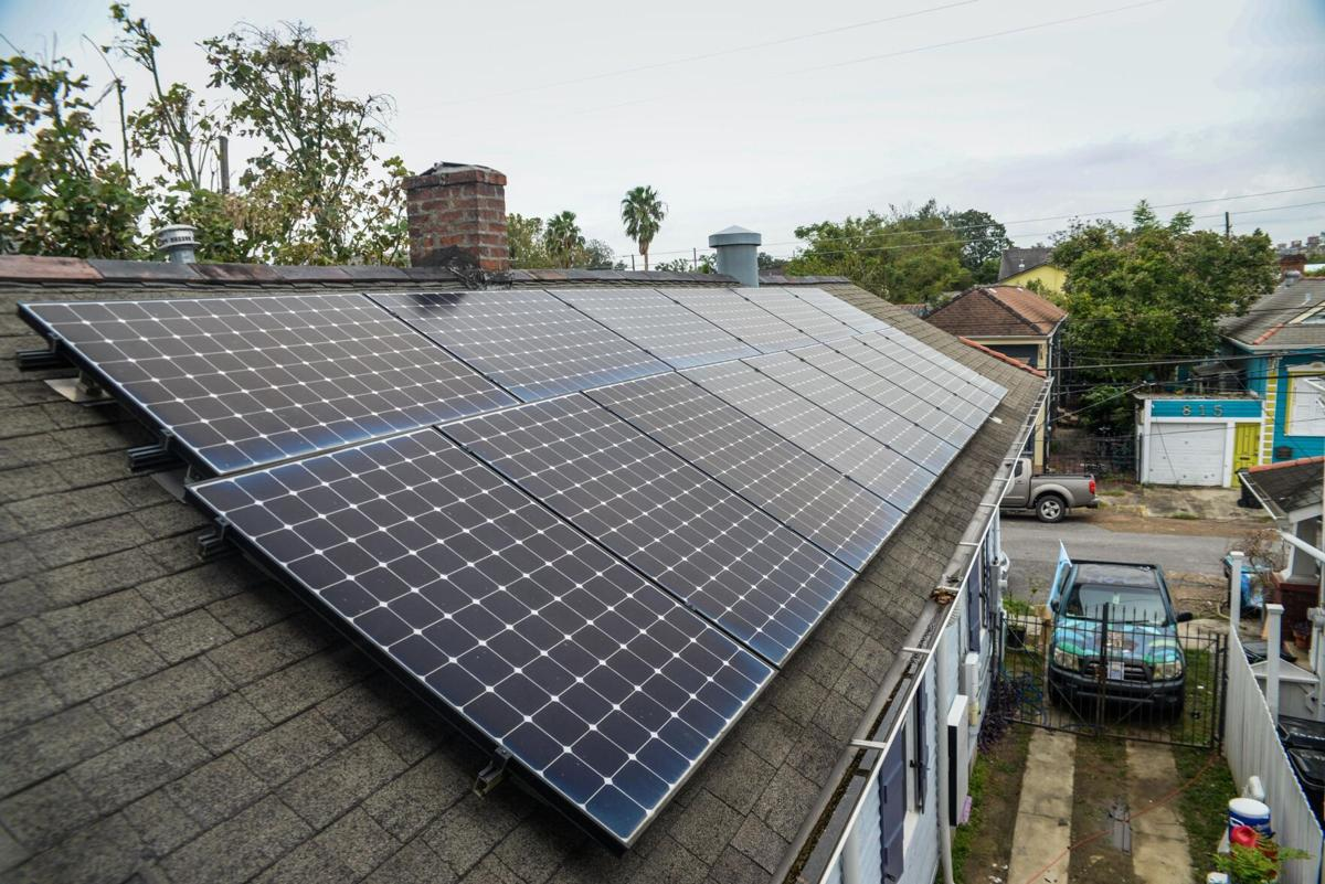 Solar panels in Bywater after Hurricane Ida