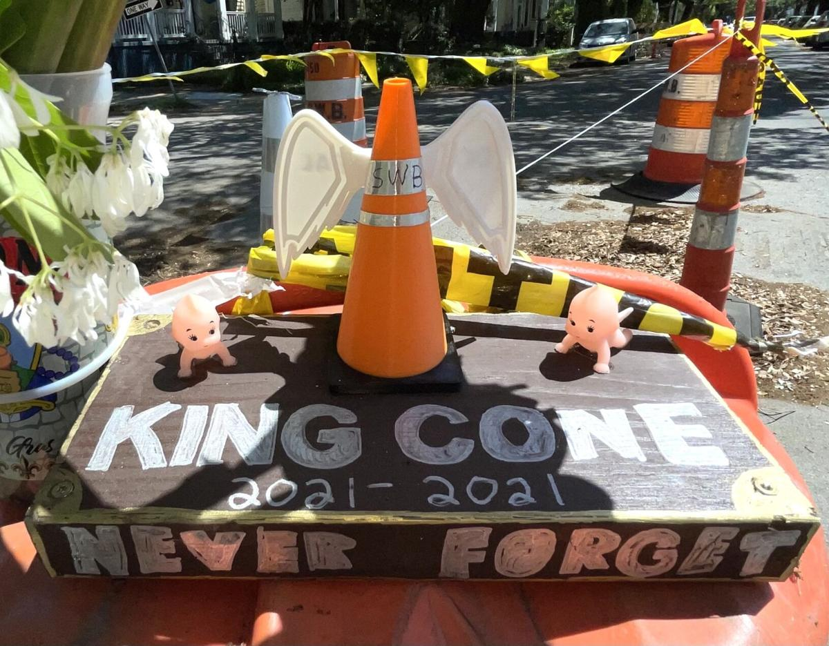 A satiric 8-ft. traffic cone was replaced with a tongue-in-cheek memorial.jpeg