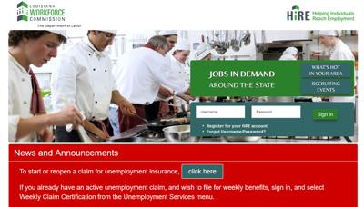 Louisiana Workforce Commission website