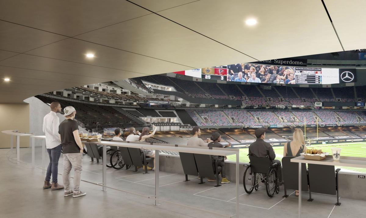 "Mercedes-Benz Superdome, 200 level corner seats ""Super Vomintory"""