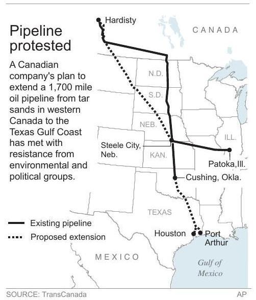 Keystone XL pipeline map