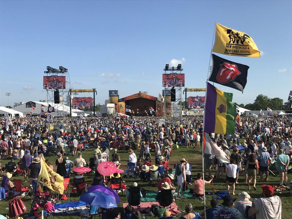 2019 jazz fest rolling stones flag crowd