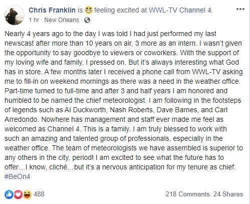Chris Franklin's Facebook post
