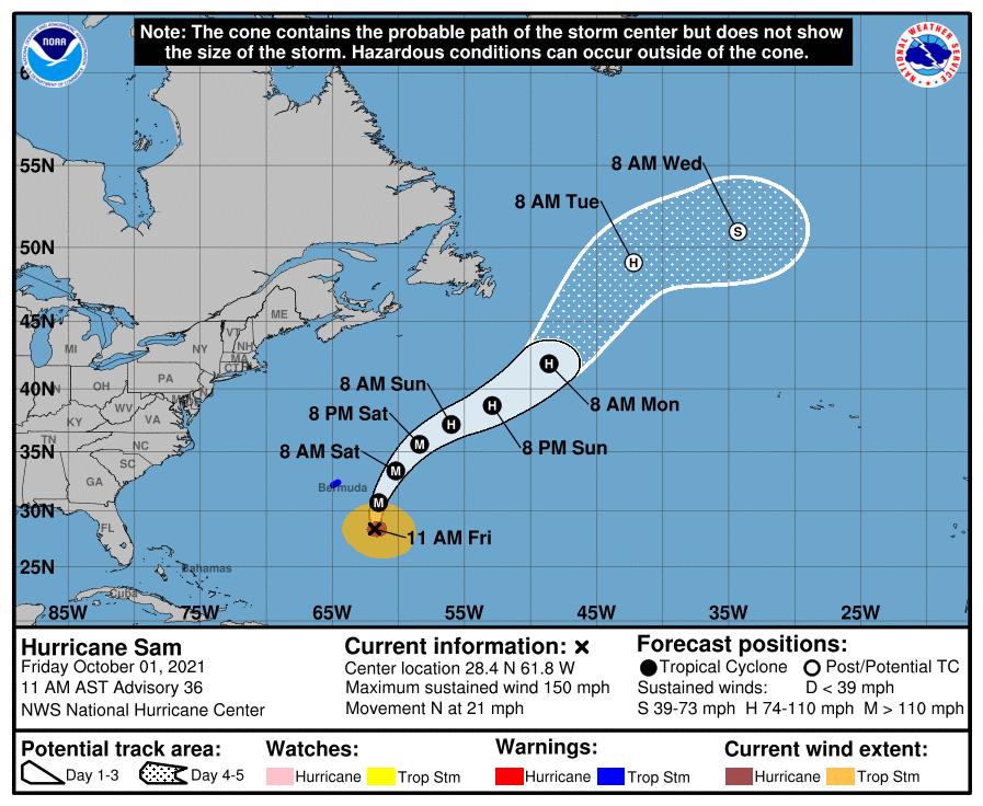 Hurricane Sam 10am path Oct 1