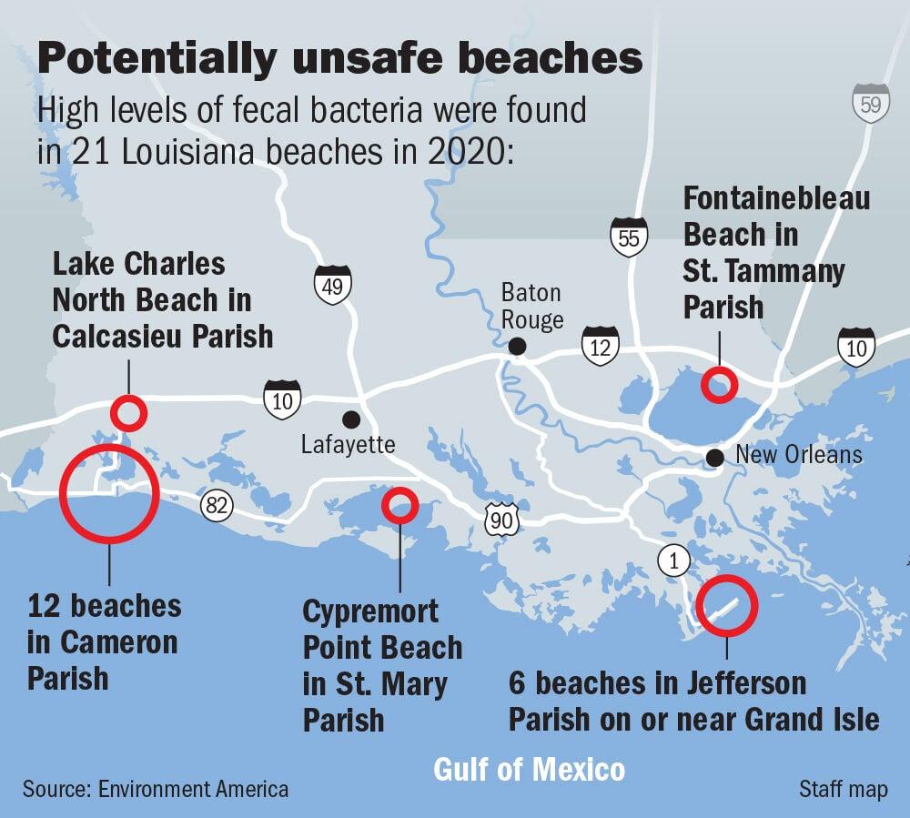 Unsafe Louisiana beaches map