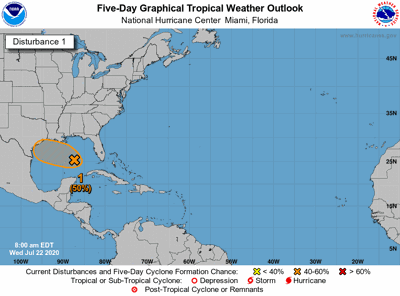 Tropical disturbance in Gulf of Mexico Wednesday morning