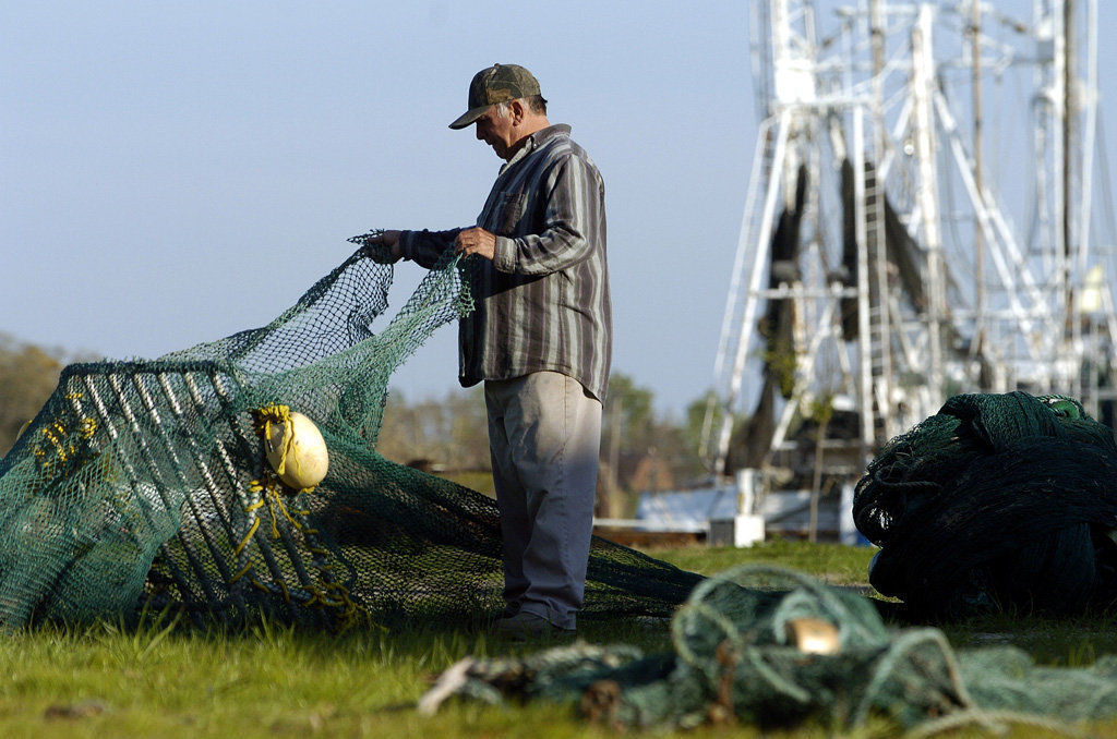 Shrimper with net