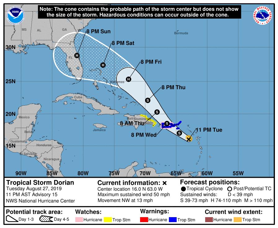 Tropical Storm Dorian 082719 10 am track