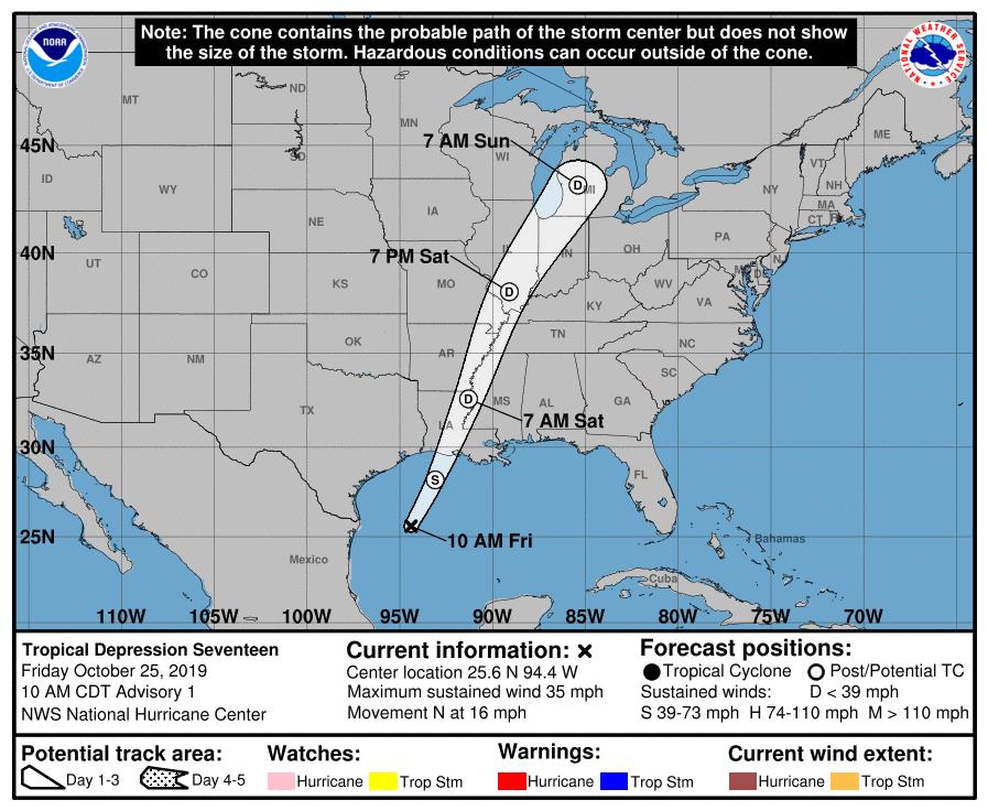 tropical depression 10am 102519 track