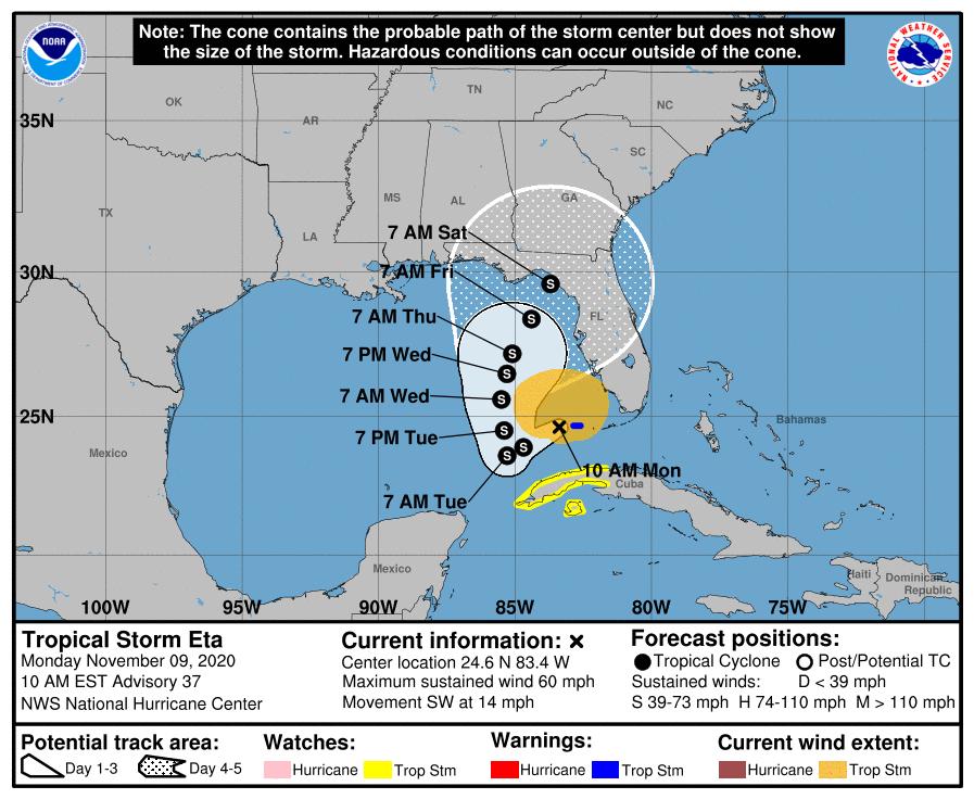 Tropical Storm Eta 9am Monday track