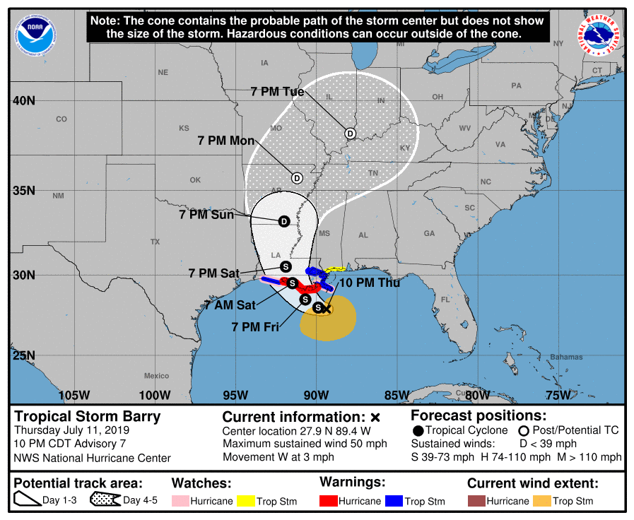 10 pm advisory 7/11 Tropical Storm Barry