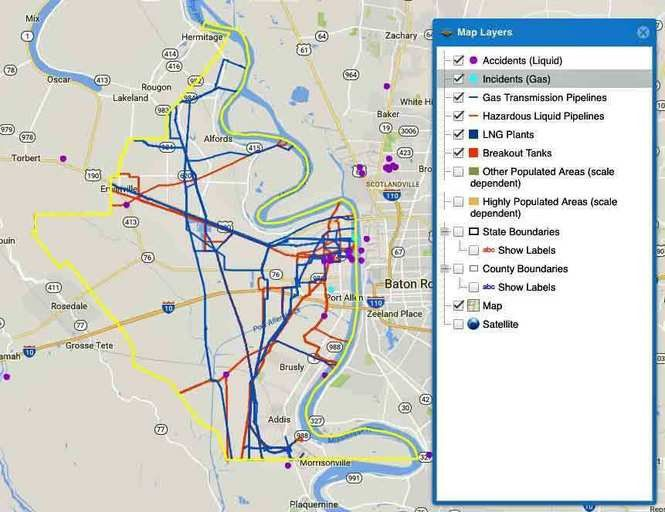 Find the hazardous liquid, gas pipelines in your community