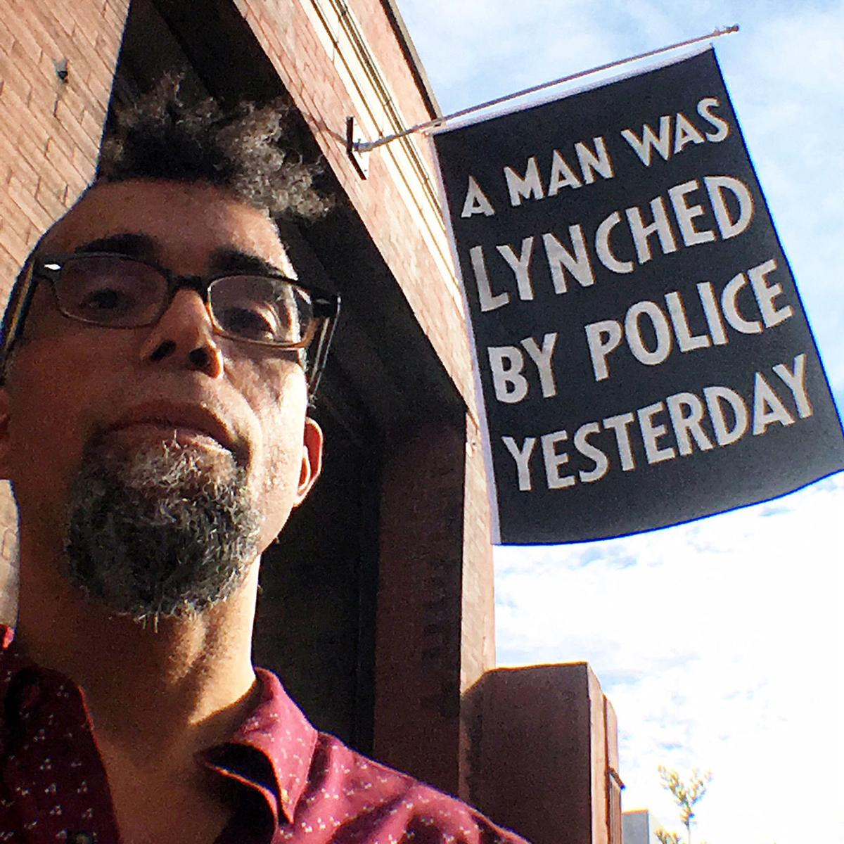 Artist Dread Scott's Black Lives Matter protest flag flies at