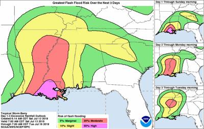 High risk of flash flooding along Louisiana coast