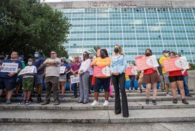Minimum wage hike rally at City Hall 8-16-21