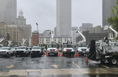 Entergy bucket trucks staged