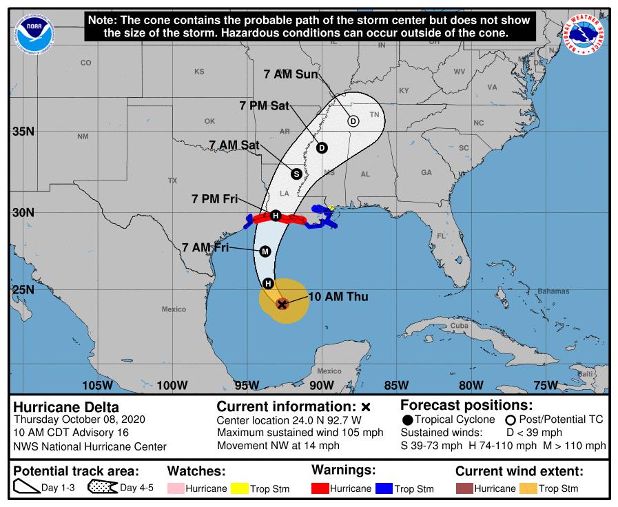 Hurricane Delta 10am Thursday track