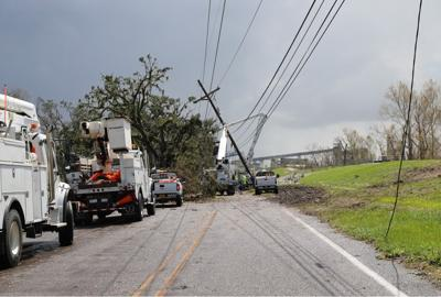 River Road Hurricane Ida power poles