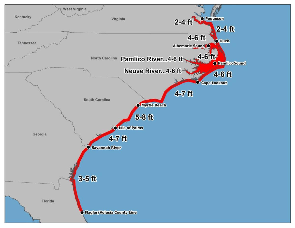 New storm surge water height map