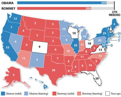 Map of the 2012 electoral vote projections for president ...