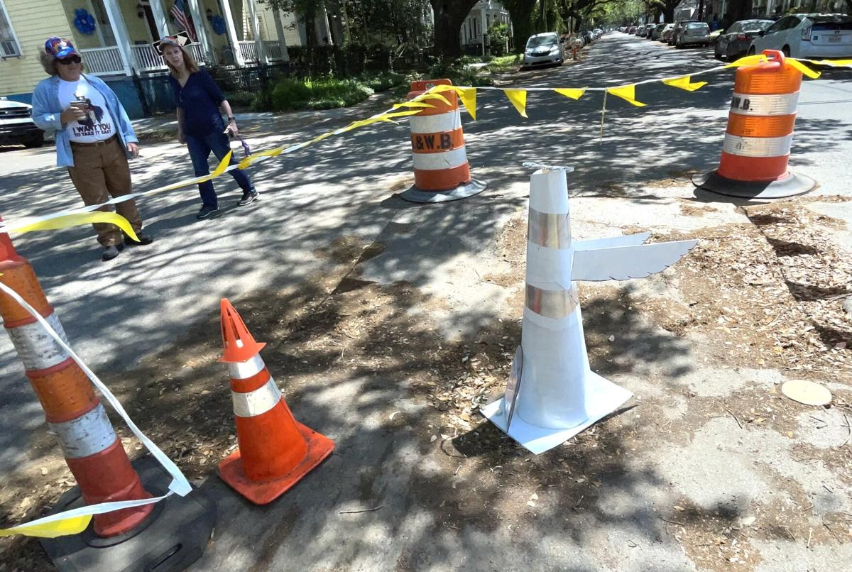 A satiric 8-ft. traffic cone was replaced with a tongue-in-cheek memorial  2.jpeg