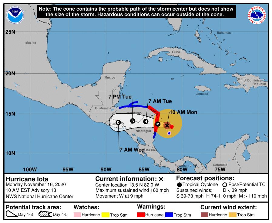 Hurricane Iota 9am Monday track