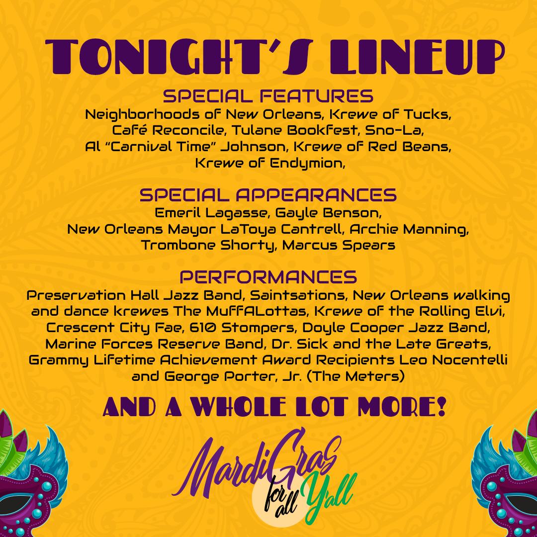 Mardi Gras For All Y'all Saturday Lineup
