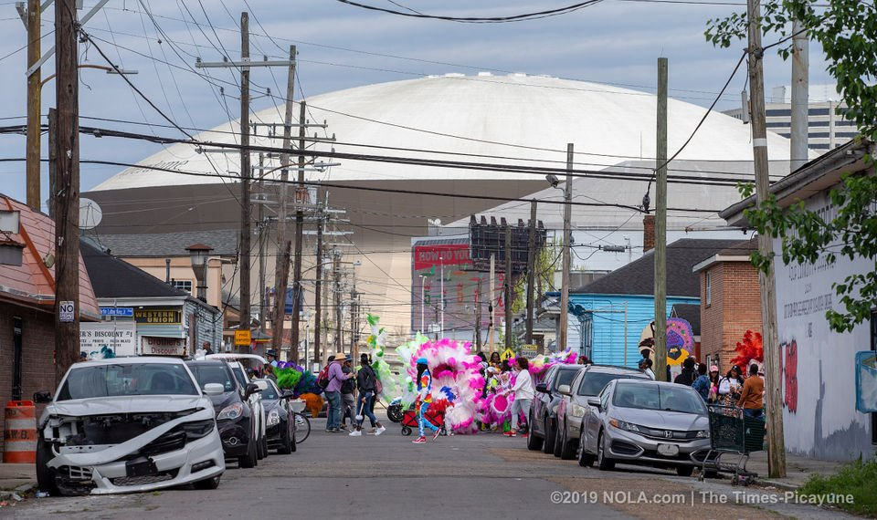 Mardi Gras Indians meander through Central City in New Orleans on Super Sunday 2019