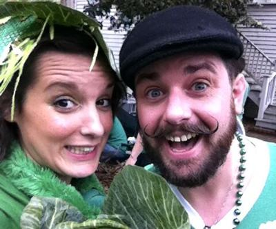 Brian Moore, right, with wife Kate Duncan. Moore is bringing the Mardi Gras house float phenomenon to St. Partick's Day